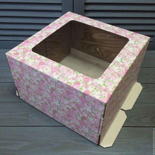 Упаковка ручной работы. Ярмарка Мастеров - ручная работа. Купить Коробка для торта (30х30х19 см). Handmade. Розовый, шкатулка