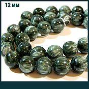 Материалы для творчества handmade. Livemaster - original item Serafinite (clinochlor) beads, nat. stone.piece-thread. Handmade.