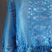 Одежда ручной работы. Ярмарка Мастеров - ручная работа Ажурная голубая туника - разлетайка с пояском. Handmade.