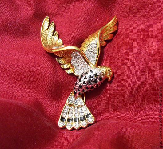 Великолепная объемная брошь Птица, винтаж, под золото, стразы, роскошный подарок