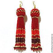 Украшения handmade. Livemaster - original item Earrings-tassels beaded red. Handmade.