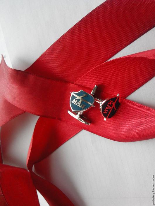 Персональные подарки ручной работы. Ярмарка Мастеров - ручная работа. Купить заказать корпоративные запонки с эмалью. Handmade. Серебряный