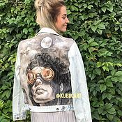 Одежда ручной работы. Ярмарка Мастеров - ручная работа Джинсовая куртка с ручной росписью в стиле стимпанк. Handmade.