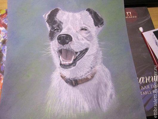 Животные ручной работы. Ярмарка Мастеров - ручная работа. Купить портрет по фото пастелью. Handmade. Комбинированный, белая собака, радость