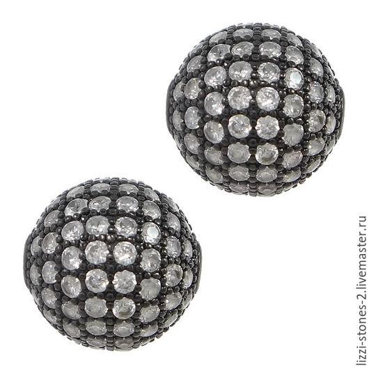 Бусина шар черная с прозрачными кристаллами 8,10 мм (Milano) Евгения (Lizzi-stones-2)