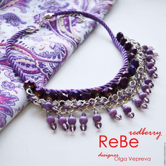 Колье, бусы ручной работы. Ярмарка Мастеров - ручная работа. Купить Ожерелье Purple Magic. Handmade. Фиолетовый, цирконы