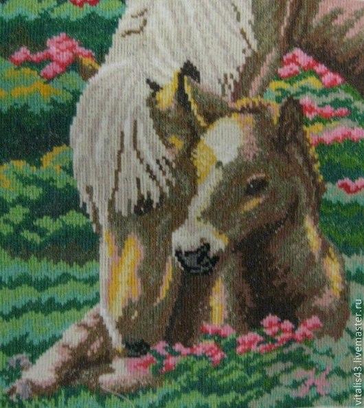 Животные ручной работы. Ярмарка Мастеров - ручная работа. Купить Мамина забота  2. Вышитая картина. Handmade. Разноцветный, животные