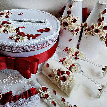 Свадебный салон ручной работы. Ярмарка Мастеров - ручная работа Свадебный набор Бордовый. Handmade.