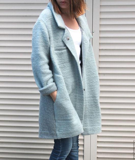 Кофты и свитера ручной работы. Ярмарка Мастеров - ручная работа. Купить Жакет пальто. Шерсть 100%.. Handmade. Голубой, кардиган