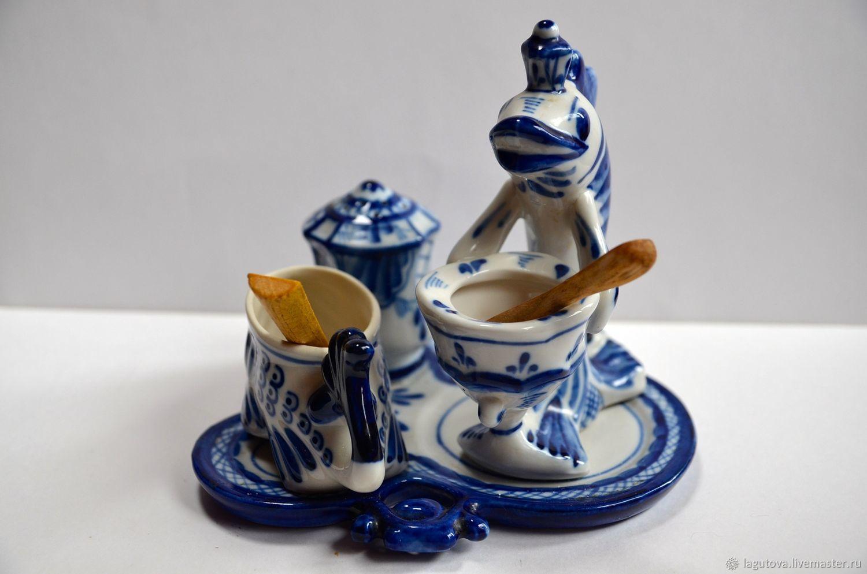 Винтаж: Резерв Интересный набор фарфоровой посуды для специй-Гжель, Винтажная кухонная утварь, Конаково, Фото №1