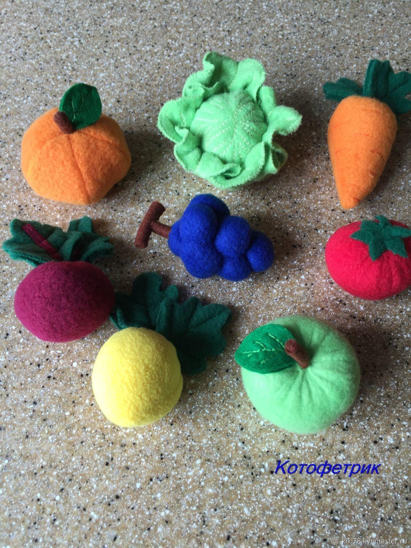 Еда ручной работы. Ярмарка Мастеров - ручная работа. Купить Овощи и фрукты из флиса. Handmade. Раннее развитие, игра в повара
