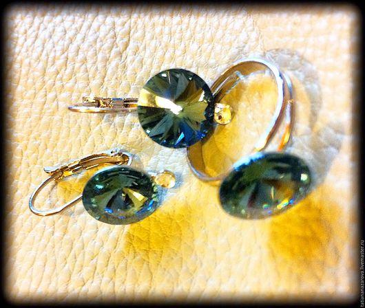 Комплекты украшений ручной работы. Ярмарка Мастеров - ручная работа. Купить Комплект серьги и кольцо. Handmade. Тёмно-синий, кольцо