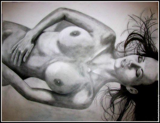 Люди, ручной работы. Ярмарка Мастеров - ручная работа. Купить Рисунок карандашом Женщина Формат А1. Handmade. Чёрно-белый