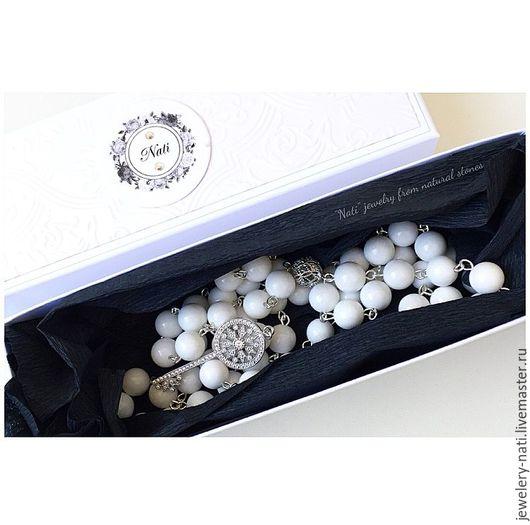 """Колье, бусы ручной работы. Ярмарка Мастеров - ручная работа. Купить Розарий из натурального камня """"Tiffany white"""" (Белый агат). Handmade."""