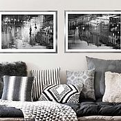 Картины и панно handmade. Livemaster - original item Black and white paintings on the wall, Abstract paintings night city Diptych. Handmade.