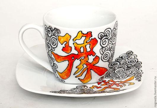 """Сервизы, чайные пары ручной работы. Ярмарка Мастеров - ручная работа. Купить Иероглиф """"Удача"""" (0143). Handmade. Китай, фарфор"""