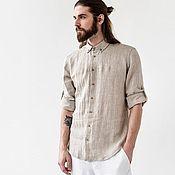 Рубашки ручной работы. Ярмарка Мастеров - ручная работа Мужская рубашка из умягченного льна. Handmade.