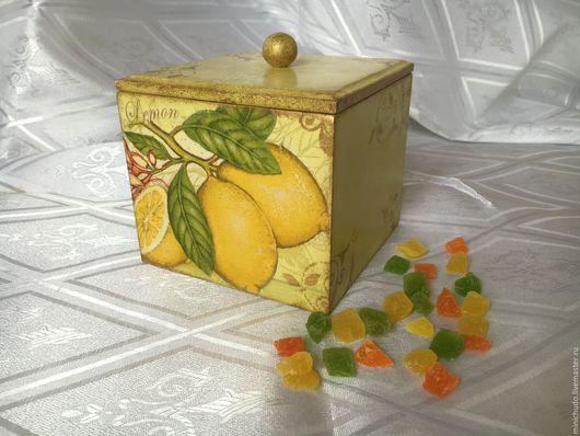 """Кухня ручной работы. Ярмарка Мастеров - ручная работа. Купить Короб """"Цитрусовая свежесть"""". Handmade. Лимонный, лимоны, воск"""