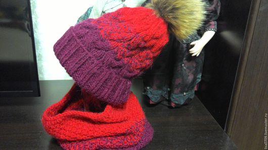 Шапки ручной работы. Ярмарка Мастеров - ручная работа. Купить вязанная шапка и снуд. Handmade. Бордовый, вязанная шапка