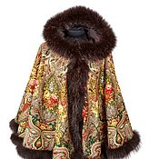 Одежда handmade. Livemaster - original item Bipartite brown poncho with fox fur. Handmade.