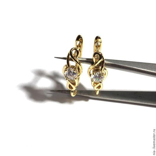 Для украшений ручной работы. Ярмарка Мастеров - ручная работа. Купить Швензы со стразами английский замок с позолотой 123. Handmade.