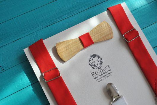 Галстуки, бабочки ручной работы. Ярмарка Мастеров - ручная работа. Купить Деревянная бабочка галстук узкая + ярко красные подтяжки. Handmade.