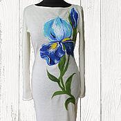 """Одежда ручной работы. Ярмарка Мастеров - ручная работа """"Элегантный ирис """" платье с набитым шерстяным рисунком. Handmade."""