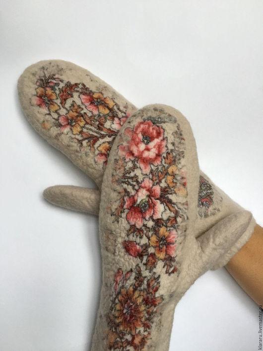 Варежки, рукавички, павловопосадский платок, бежевые варежки, подарок на новый год, подарок маме, зимняя одежда, Клара Ру