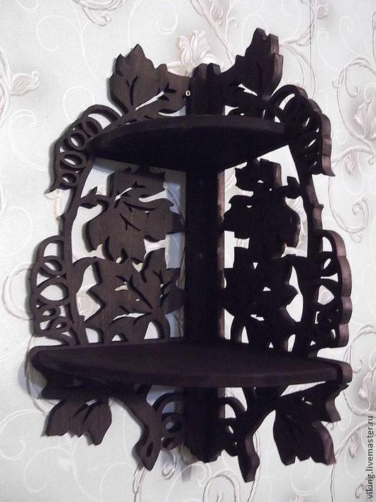 Мебель ручной работы. Ярмарка Мастеров - ручная работа. Купить Полка Листья №1102. Handmade. Венге, мебель из дерева, резное