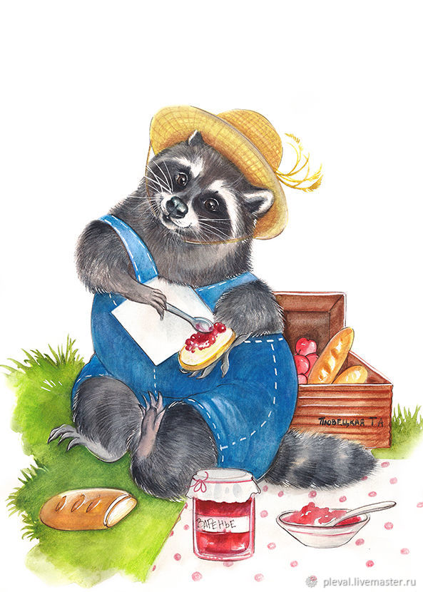Copy of Raccoon watercolor painting - fisherman raccoon, Pictures, Podolsk,  Фото №1