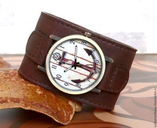 Часы ручной работы. Ярмарка Мастеров - ручная работа. Купить Винтажные часы с якорем на кожаном браслете.. Handmade. Часы