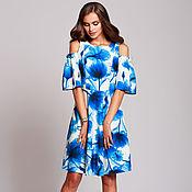 Одежда ручной работы. Ярмарка Мастеров - ручная работа Летнее платье с открытыми плечиками. Яркое летнее платье длина миди. Handmade.