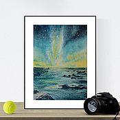 """Картины ручной работы. Ярмарка Мастеров - ручная работа Картина акварель """"Ночное море""""41,8 на 29,5 см. Handmade."""