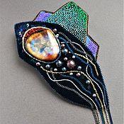 Украшения handmade. Livemaster - original item Brooch pendant ODYSSEY ceramic, velvet, sequins, cantel, beads. Handmade.