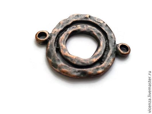 Коннектор `двойное кольцо` неправильной формы (медь, бронза, серебро, золото) Размер: 24*30 мм (размер указан с учетом петельки)