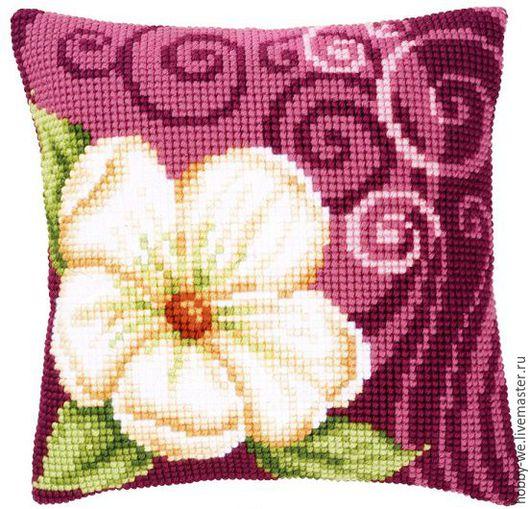 Вышивка ручной работы. Ярмарка Мастеров - ручная работа. Купить Набор для вышивания подушки  Большой кремовый цветок, Vervaco. Handmade.