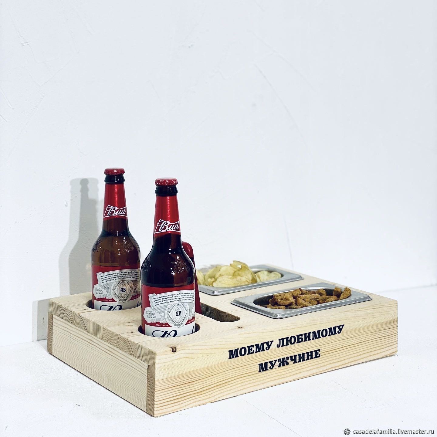 Wooden tray for beer and snacks, Gifts for February 23, Moscow,  Фото №1