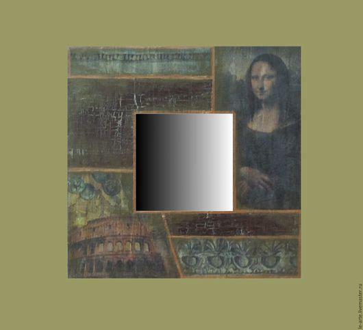 """Зеркала ручной работы. Ярмарка Мастеров - ручная работа. Купить Зеркало """"Джоконда"""". Handmade. Комбинированный, зеркало, подарок, акриловые краски"""