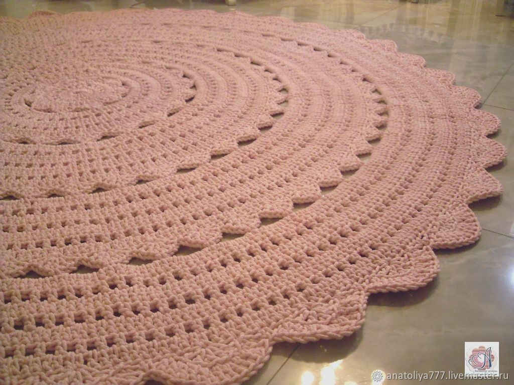 a large rug of knitted cord Rustic openwork, Carpets, Kabardinka,  Фото №1