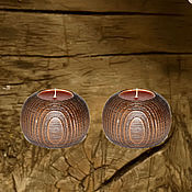 Для дома и интерьера handmade. Livemaster - original item Pair of candle holders for tea lights from Natural Siberian Cedar. Handmade.