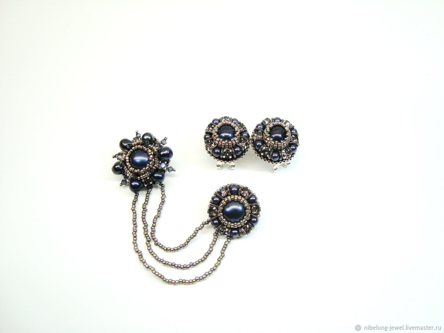 Double brooch and earrings Black pearls and Swarovski, Jewelry Sets, Moscow,  Фото №1