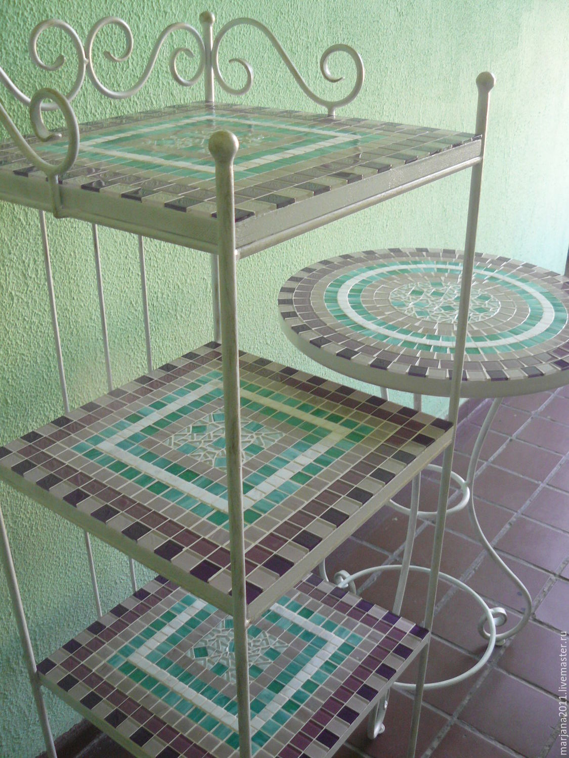 Wrought iron shelves and a little table with a mosaic of 'Tenderness', Tables, Moscow,  Фото №1