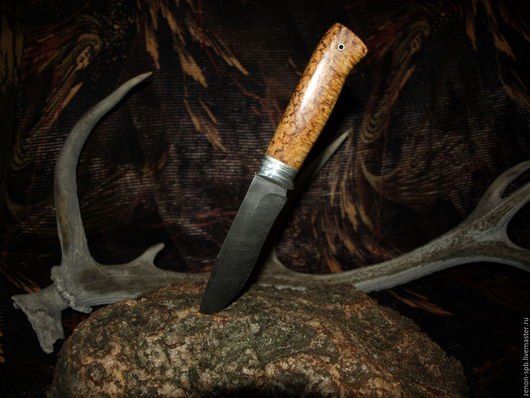 Оружие ручной работы. Ярмарка Мастеров - ручная работа. Купить Нож домасская сталь серебро карельская берёза. Handmade.