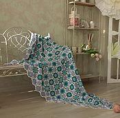 Для дома и интерьера ручной работы. Ярмарка Мастеров - ручная работа Вязаный бирюзовый ажурный плед-покрывало. Handmade.