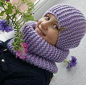 """Аксессуары ручной работы. Ярмарка Мастеров - ручная работа Вязаная шапка и снуд """"Light purple"""". Handmade."""
