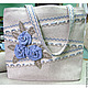 """Женские сумки ручной работы. Ярмарка Мастеров - ручная работа. Купить """"Розы голубые""""  летняя льняная сумка. Handmade. Серый"""