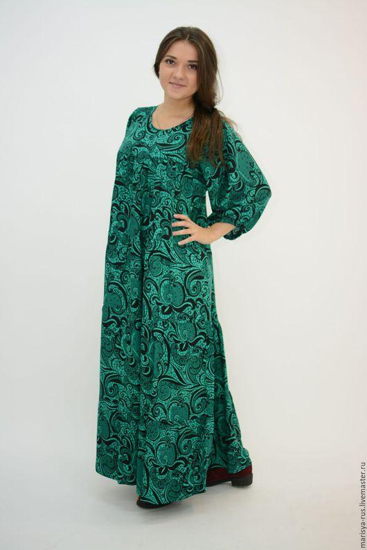 """Платья ручной работы. Ярмарка Мастеров - ручная работа. Купить Платье классика """"Малахитинка"""". Handmade. Зеленый, платье макси длина"""