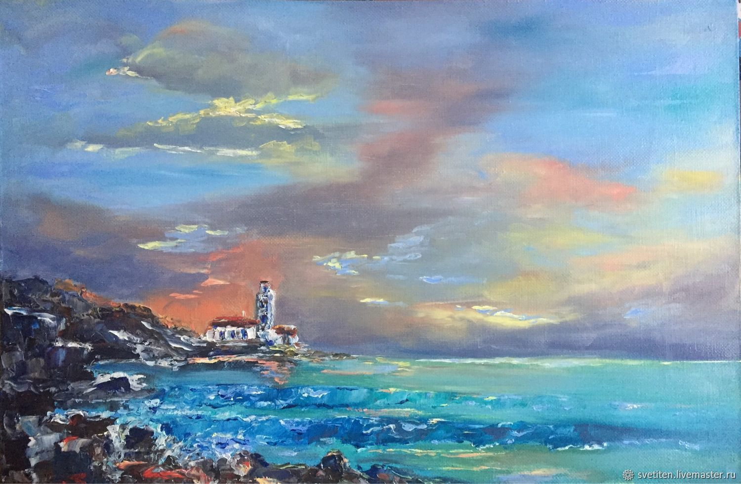 Oil painting.Warm sunset. Seascape, Pictures, Moscow,  Фото №1