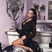Одежда ручной работы. Ярмарка Мастеров - ручная работа Черное шифоновое платье на запАх. Handmade.