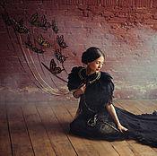 Одежда ручной работы. Ярмарка Мастеров - ручная работа Накидка с перьями Черный лебедь. Handmade.